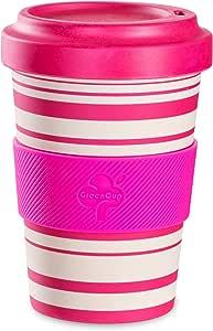 Be-Puro 竹纤维旅行咖啡杯/环保可重复使用长效/可用洗碗机清洗/盖子上的水壶/硅胶握柄/旅行咖啡杯,适用于茶、咖啡、热饮/18 盎司 550 毫升 粉色条纹 8001