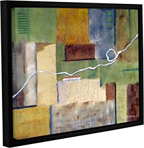 """ArtWall Herb Dickinson's A Mix of Earth Tones Natural Colors and Industrial Shapes Weaving Gallery Wrapped Floater Framed Canvas, 14 x 18"""""""