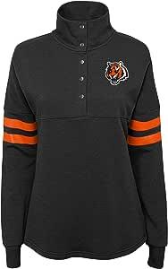 NFL by Outerstuff NFL 辛辛那提猛虎队 青少年经典款球衣 1/4 按扣套头衫上衣黑色,青少年 L 码(11-13 码)