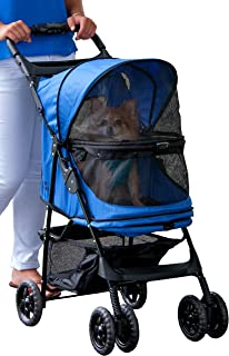 Pet Gear Happy Trails No Zip Pet Stroller, Sapphire