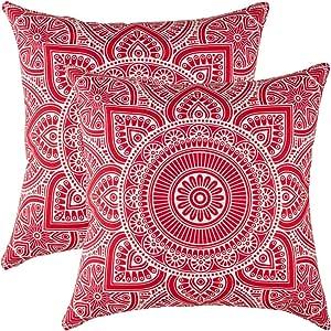 TreeWool 2 件抱枕枕套装饰性曼荼罗装饰性枕套投掷枕头靠垫枕套沙发套 红色 22 x 22 Inches MAN222PCCRED