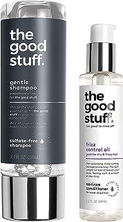 The Good Stuff Bundle Pack 温和无硫酸盐洗发水 7.7 盎司和不冲洗护发素毛躁控制油素,3.2 盎司,2 件装