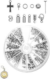 Mandala Crafts 不锈钢 Kumihimo 绳末盖,扣带夹,甲状珠宝查找用品入门套件 Endcaps, Bail Pegs, Earring Posts, Charms, Bead Caps 81109603304