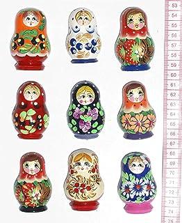 木质冰箱磁贴,嵌套玩偶(马特里奥什卡),手绘俄罗斯工艺品