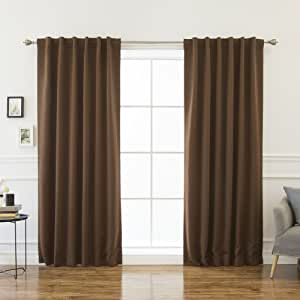 """Best Home Fashion Thermal Insulated Blackout Curtains - Back Tab - Chocolate - 52""""W x 132""""L - (Set of 2 Panels)"""