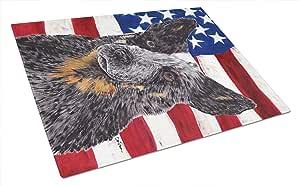 Caroline's Treasures SC9109LCB USA American Flag with Australian Cattle Dog Cutting Board, Large, Multicolor