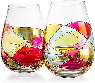 由 The Wine Savant 出品的精美手绘无茎酒杯 - 独特的手绘礼物 - 2 件套 - 送给她、他、生日、妈妈、乔迁的礼物创意 - 超大杯子