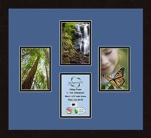 Art to Frames 双多衬垫-497-836/89-FRBW26061 拼贴框架照片垫双衬垫带 4 个 - 12.7 x 17.78 cm 开口和咖啡色相框
