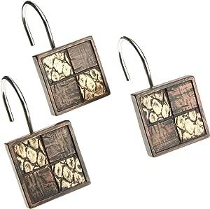 流行的赞比亚垃圾篮 巧克力色 Shower Curtain Hooks 713176