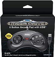 Retro-Bit 官方 SEGA Mega Drive USB 6 键控制器,适用于 MEGA DRIVE MINI CONSOLE、PC、开关、Mac、蒸汽、复古派对 Raspberry Pi - 黑色(Nintendo Switch/////)