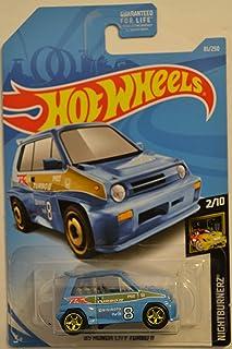 Hot Wheels '85 本田城市涡轮增压车 II 蓝色 #81 定制,采用真正的骑士橡胶轮 HW Night Burnerz 系列 1:64 比例可收藏压铸模型汽车