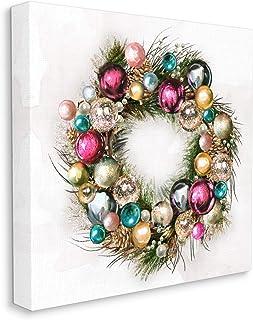Stupell Industries 节日装饰花环极简圣诞饰品,由 Ziwei Li 设计,帆布墙艺术,36 x 36,白色