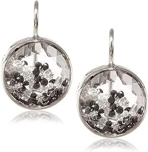 """Moritz Glik """"Kaleidoscope"""" 18K and 14k White Gold, Floating Black and White Diamond and Sapphire Earrings"""