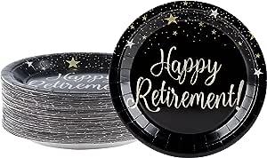 一次性盘子 - 80 片纸盘,派对用品,适用于远足者、午餐、晚餐和沙发,22.86 x 22.86 厘米 Happy Retirement GUNLN