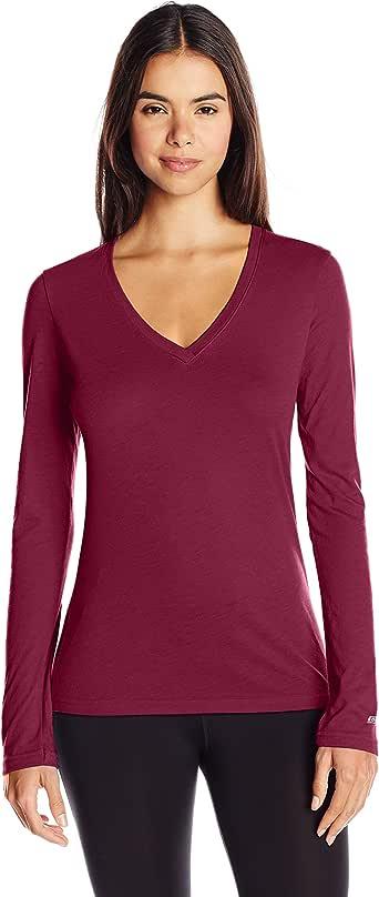 Soffe 女式长袖 V 领纸巾 T 恤 栗色 X-Large