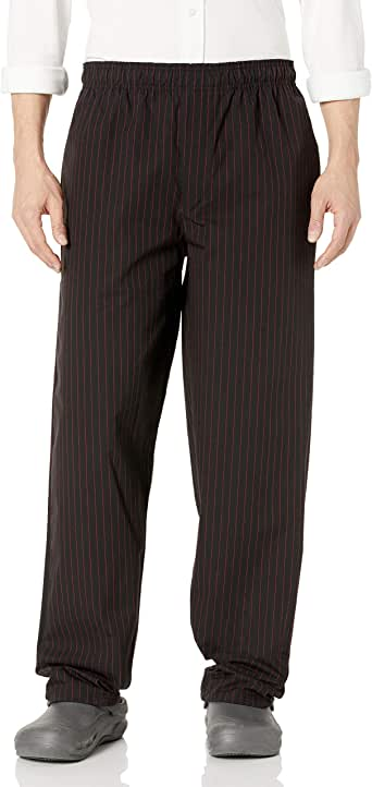 Uncommon Threads 女式染色宽松厨师长裤 Black/Red Pinstripe Medium