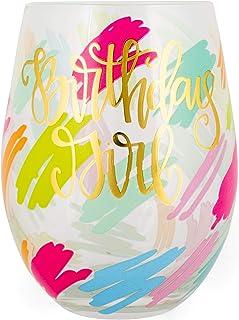 Birthday Girl 彩色涂鸦 8 盎司玻璃无柄酒杯