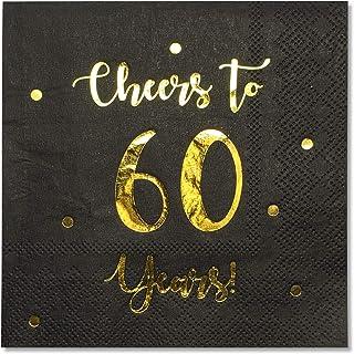 庆祝 60 周年鸡尾酒餐巾纸| 男女皆宜的60岁生日装饰品和结婚纪念日派对装饰品 | 50件装 3 层餐巾纸| 12.7 x 12.7 厘米折叠(黑色)