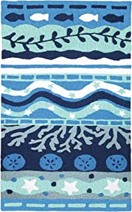 Jellybean Blue Bay Coastal 室内户外小地毯