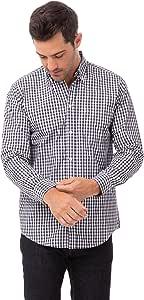 Chef Works 男式格子衬衫 *蓝和白色格子 3X-Large
