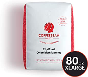 Coffee Bean Direct 中深烘焙 Colombian Supremo, 全豆咖啡, 5磅(约2.2kg)1袋