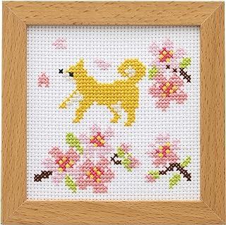 LECIEN 刺绣套件 可爱动物和季节的花 带框架的十字绣套件 快速樱花