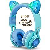 儿童耳机,Riwbox CT-7S 猫耳蓝牙耳机 85dB 音量限制,LED 发光儿童无线耳机头戴式耳机带麦克风,适用于 iPhone/iPad/Kindle/Laptop/PC/TV
