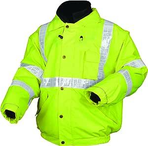 River City BPCL3LXL 亮色三级绝缘涤纶 4 合 1 飞行员Plus 夹克带拉链抓绒内衬和分离袖,荧光绿,XL 码 2X-Large 611-BPCL3LX2