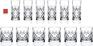 RCR Cristalleria Italiana 水晶玻璃饮料套装 DOF Whiskey (10.5 oz) & Highball Tumbler (12.25 oz) - 12 Piece
