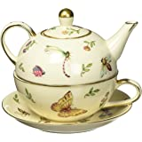 Botanical Porcelain Duo 茶壶、茶杯和碟子套装