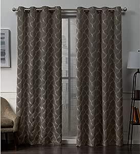*家居 Amelia 刺绣编织遮光孔环窗帘 一对 摩卡色 52x84 EH8371-06 2-84G