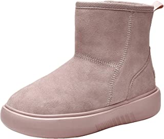 MEHOTO 女式冬季雪地靴,保暖防水毛皮内衬绒面革及踝短靴一脚蹬户外防滑舒适冬靴靴美国 5.5-10.5 码
