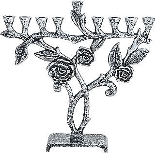 Quality Judaica 现代生命树 Menorah 玫瑰 银色