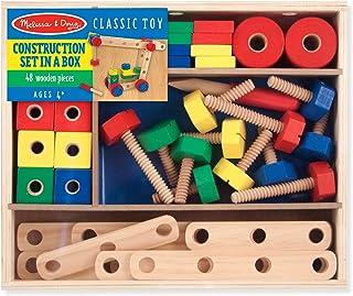 Melissa & Doug 木制盒装建筑套装(发展玩具,48件,给男孩和女孩的好礼物-适合4、5和6岁的孩子)