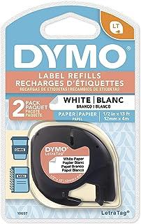 DYMO 达美 LT 易可贴标签色带 LT 白底黑字 12mm*4m (1/2Inch x 13 Feet) 2卷装
