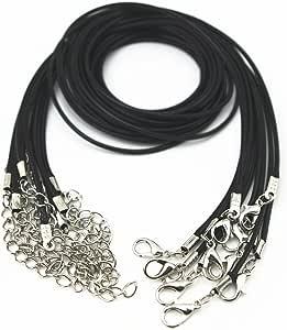 Glory Qin 10 件装黑色皮革项链绳链 1.5 毫米 5.08 厘米延长链 20 英寸 1.5mm