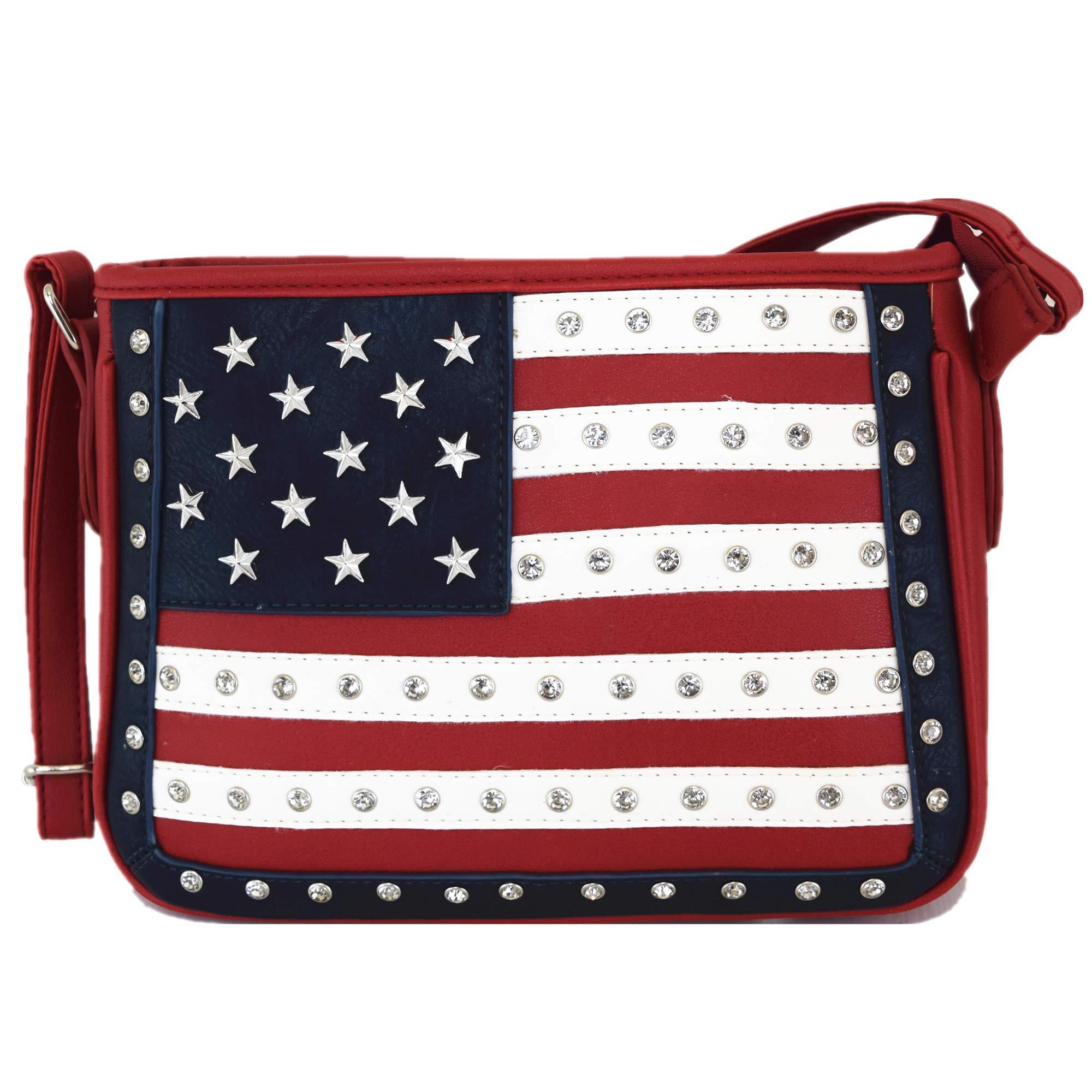 美国国旗星和条纹铆钉斜挎包隐藏携带钱包女式单肩包