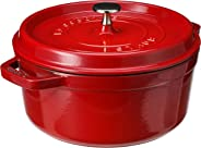 Staub 圓形鑄鐵燉鍋,4夸脫(約4.4升),櫻桃紅