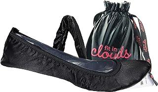 Fit IN 云彩黑色缎面折叠平底鞋