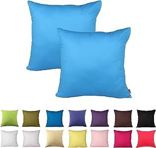 Queenie - 2 件纯色棉装饰枕套靠垫套沙发抱枕套 14 种颜色和 5 种尺寸可选 深天蓝色 26 x 26 inch (65 x 65 cm)