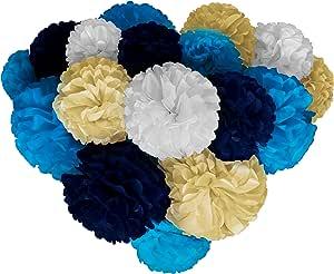 Voplop Paper Pom Poms - 20 只 8、10、14 英寸 - 纸质花 - 适合婚礼装饰 - 生日庆典 - 桌子和墙饰 000000 Paper Pom Poms
