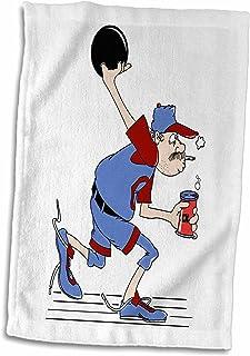 3D Rose 趣味红颈保龄球幽默运动设计手巾,15 x 22