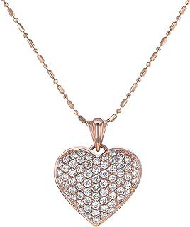 Olivia Paris 1 CT 钻石簇心形玫瑰金吊坠