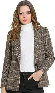 Allegra K 女式格子凹口翻领单扣犬牙花纹西装外套 棕色 Large