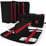 Arteza Art 马克笔和钢笔收纳袋(144 个插槽),旅行和收纳箱带拉链口袋,可拆卸和可调节肩带