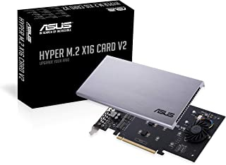 华硕 Hyper M.2 X16 PCIe 3.0 X4 扩展卡 V2 支持 4 NVMe M.2 (2242/2260/2280/22110) Intel VROC 和 AMD Ryzen Threadripper NVMe RAID *高 128 Gbps