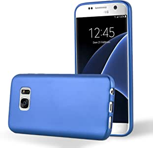 Cadorabo 手机壳适用于三星 Galaxy S7(Design MAT Metallic) - 防震防刮凝胶外壳保护壳DE-103935 METALLIC-BLUE