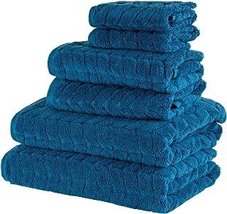 Bagno Milano 提花豪华土耳其毛巾,* 土耳其棉,速干超柔软,吸水毛绒毛巾,土耳其制造 *蓝 6 pcs Towel Set
