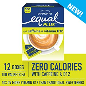 EQUAL PLUS with Caffeine and Vitamin B12, Zero Calorie Sweetener, Sugar Substitute, Fortified with Vitamin B12, Aspartame Sweetener, 100 Sweetener Packets (Pack of 12)