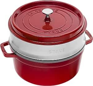 STAUB 琺寶 Gusseisen 琺瑯鑄鐵鍋 圓形帶蒸籠 26cm, 5.2 L,櫻桃/紅色